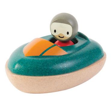 Drewniana motorówka - zabawka do kąpieli Plan Toys
